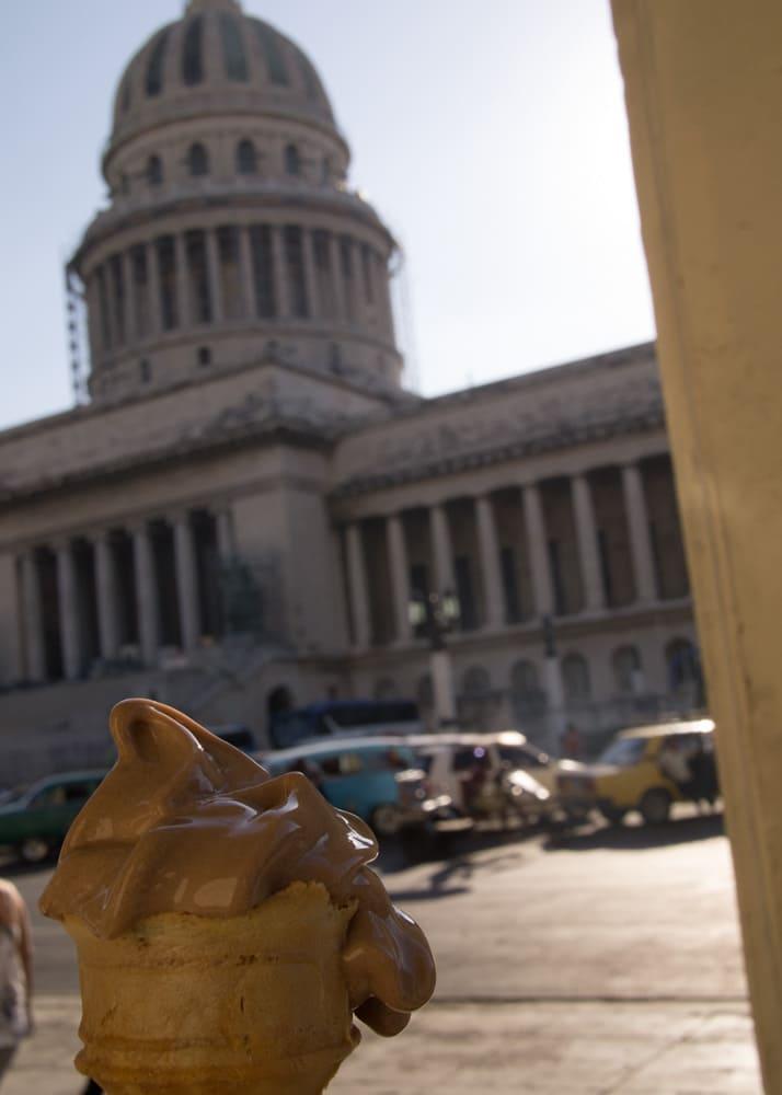 1 peso ice cream cone in havana cuba across el capitolio